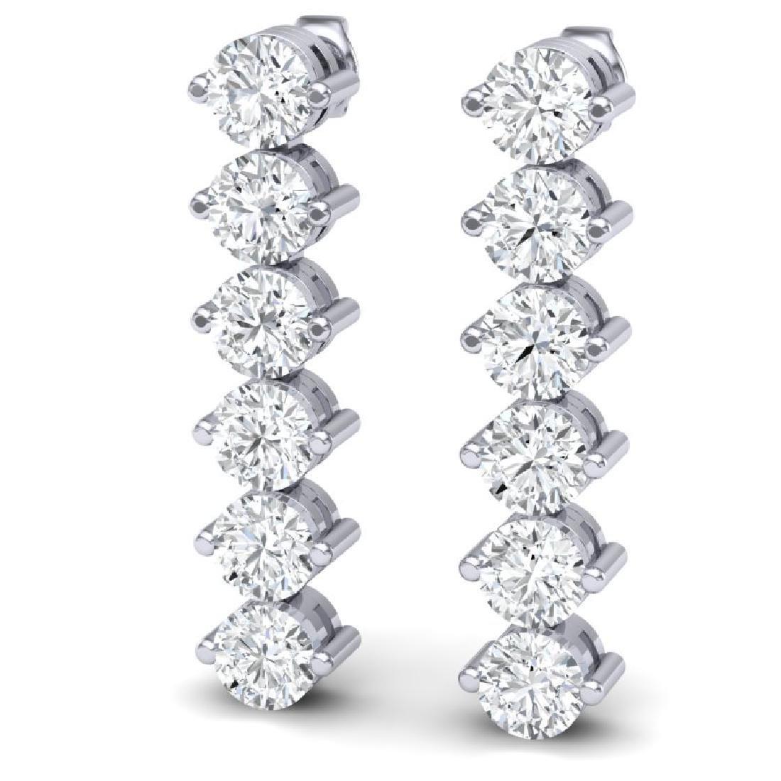 6 CTW Certified SI/I Diamond Earrings 18K White Gold - 2