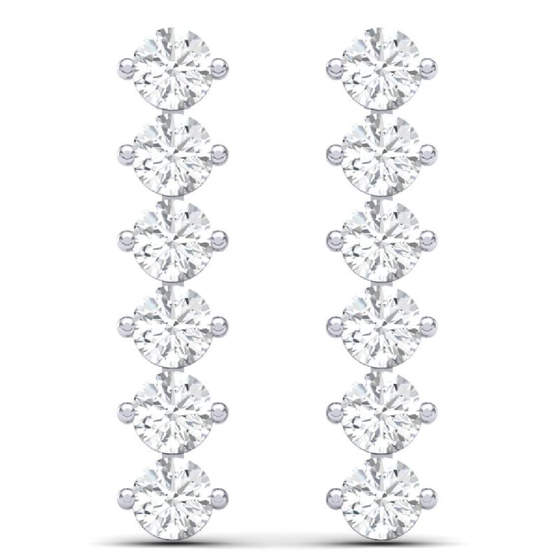 6 CTW Certified SI/I Diamond Earrings 18K White Gold - 3