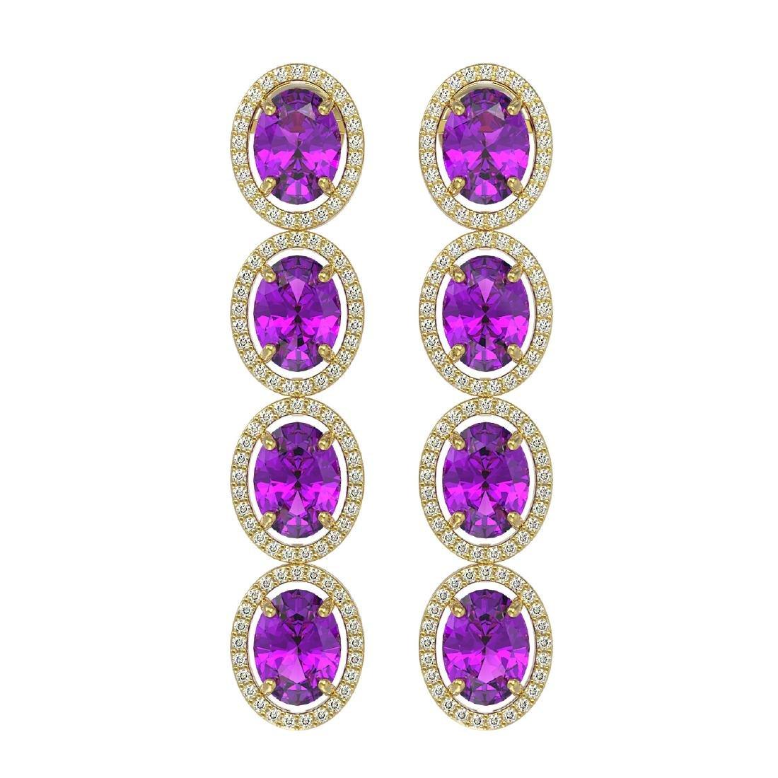 12.36 CTW Amethyst & Diamond Halo Earrings 10K Yellow