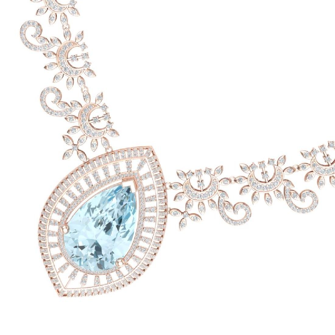68.1 CTW Royalty Sky Topaz & VS Diamond Necklace 18K