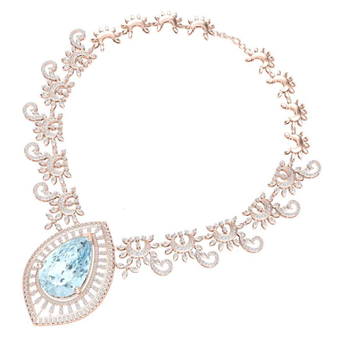 68.1 CTW Royalty Sky Topaz & VS Diamond Necklace 18K - 3