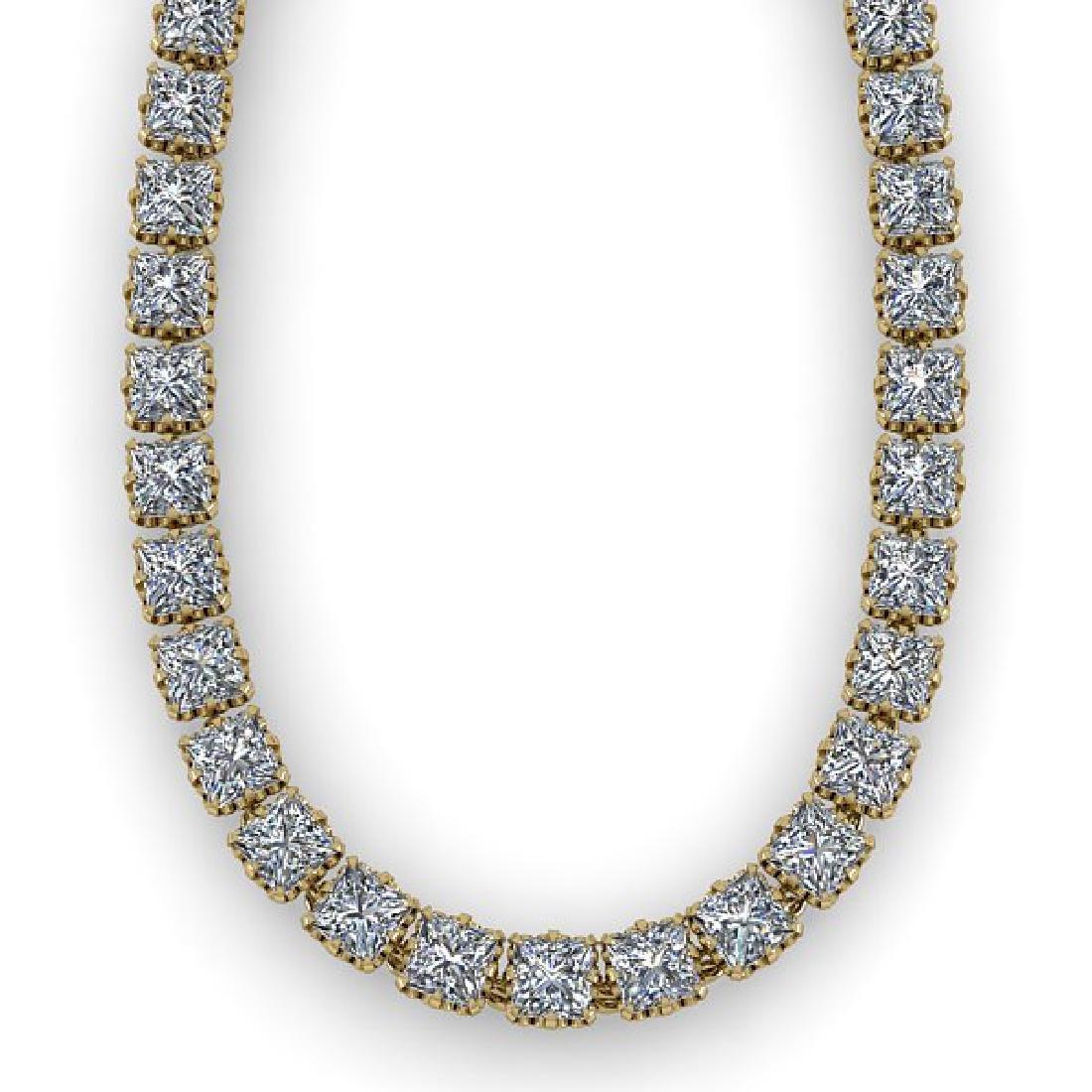 34 CTW Cushion Cut SI Certified Diamond Necklace 14K - 2