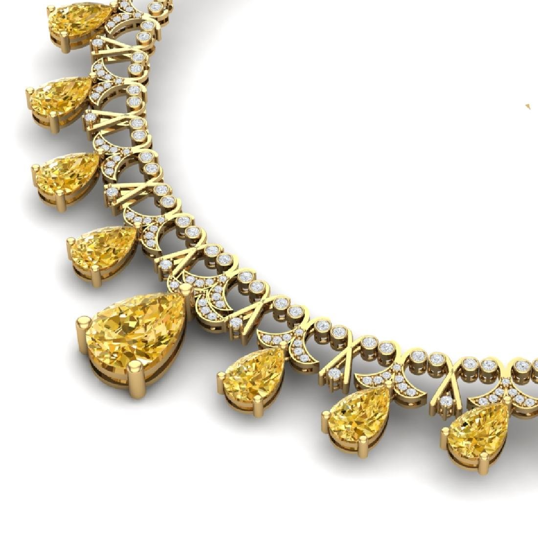 55.49 CTW Royalty Canary Citrine & VS Diamond Necklace - 2