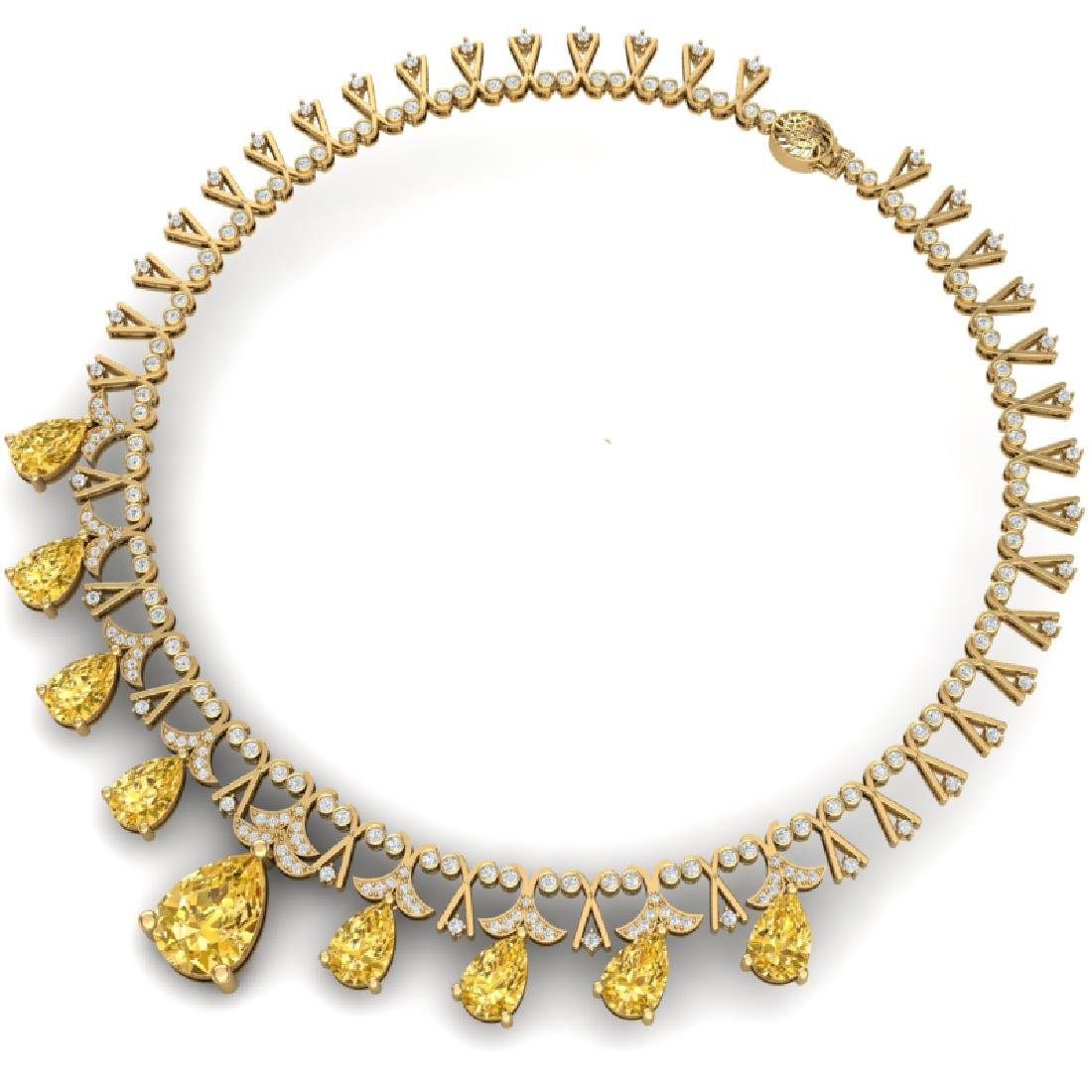 55.49 CTW Royalty Canary Citrine & VS Diamond Necklace - 3
