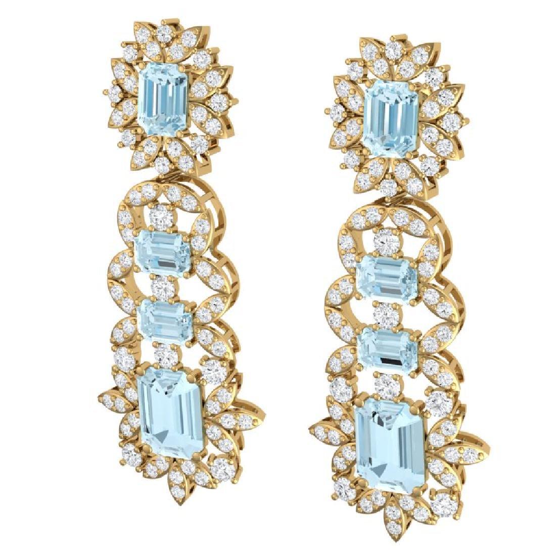 33.36 CTW Royalty Sky Topaz & VS Diamond Earrings 18K - 2