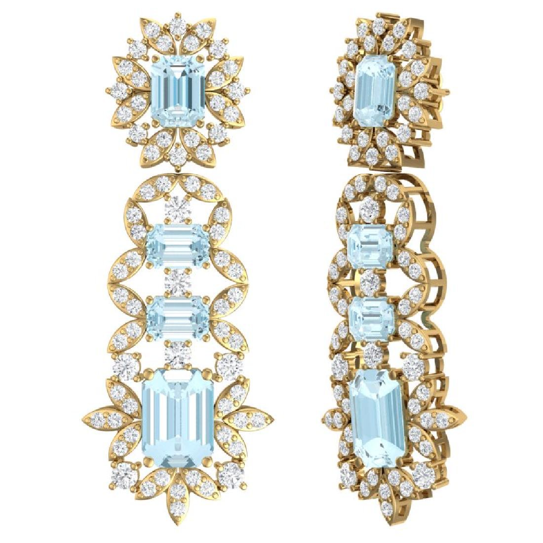 33.36 CTW Royalty Sky Topaz & VS Diamond Earrings 18K - 3