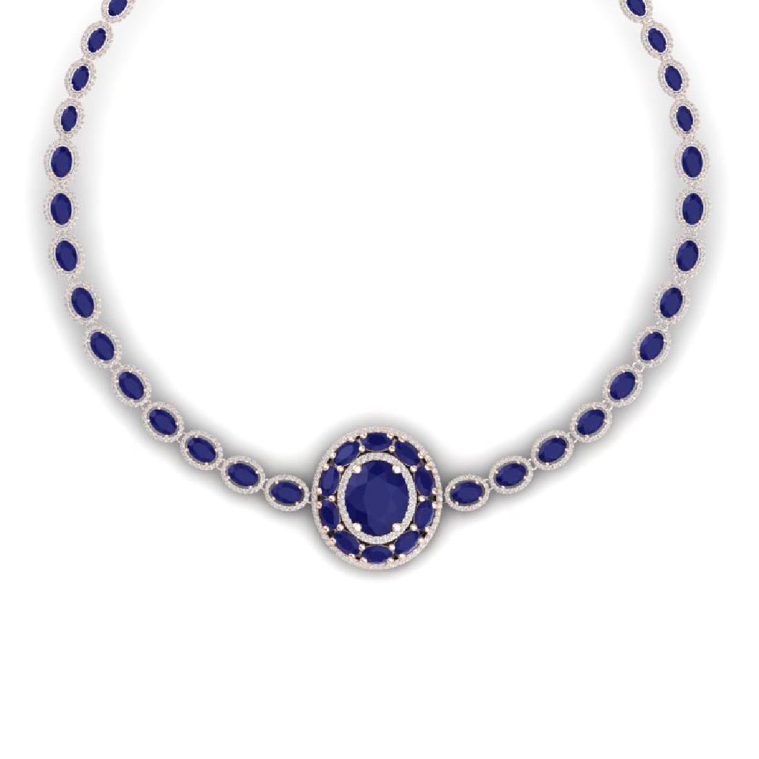 43.54 CTW Royalty Sapphire & VS Diamond Necklace 18K - 2