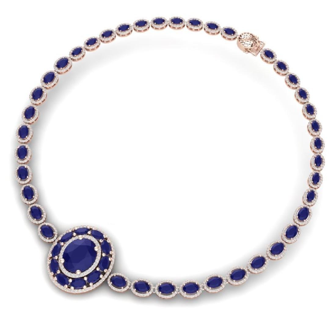 43.54 CTW Royalty Sapphire & VS Diamond Necklace 18K - 3