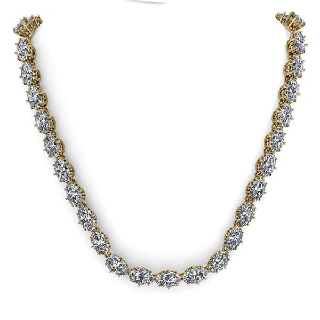 40 CTW Princess SI Certified Diamond Necklace 18K - 3
