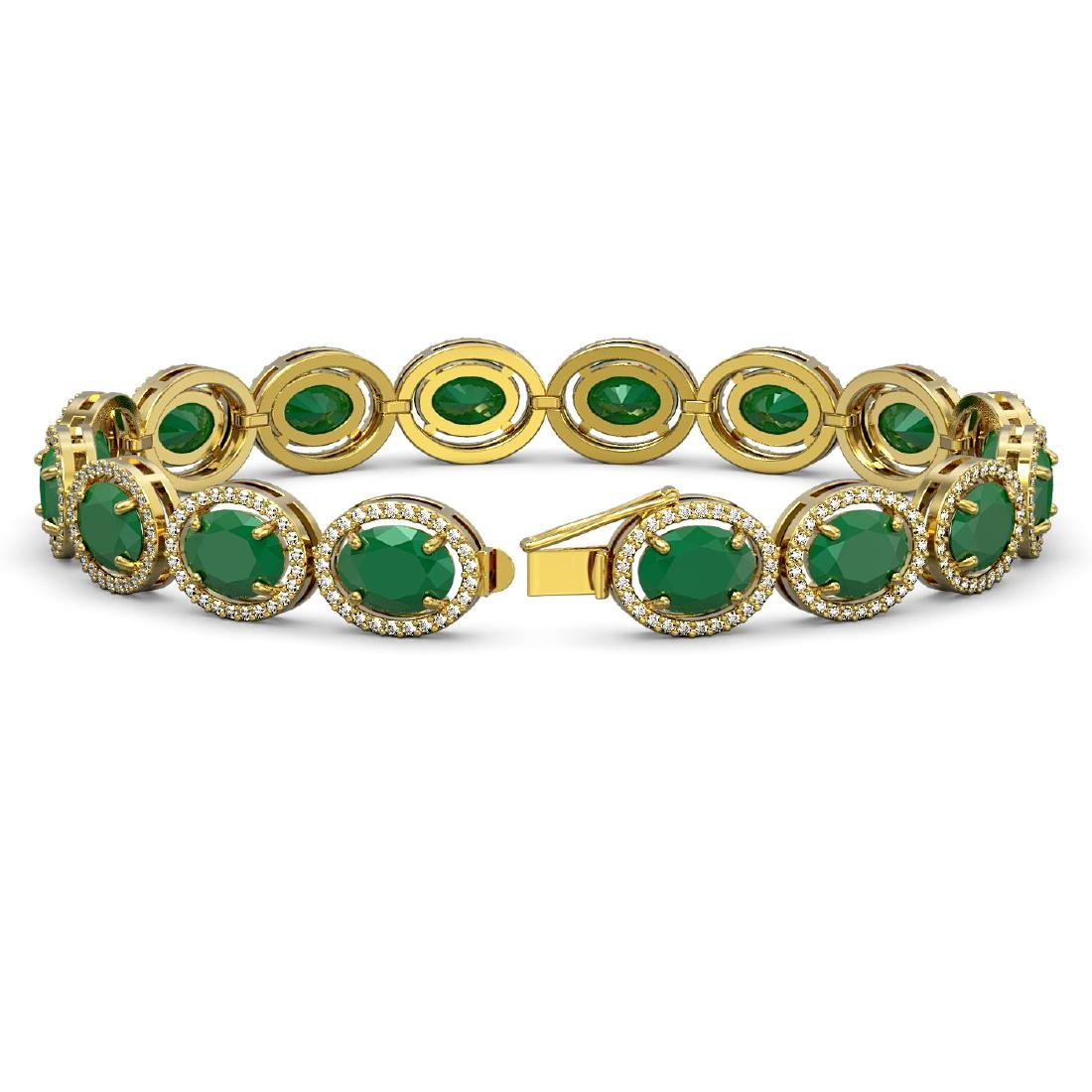 31.79 CTW Emerald & Diamond Halo Bracelet 10K Yellow - 2