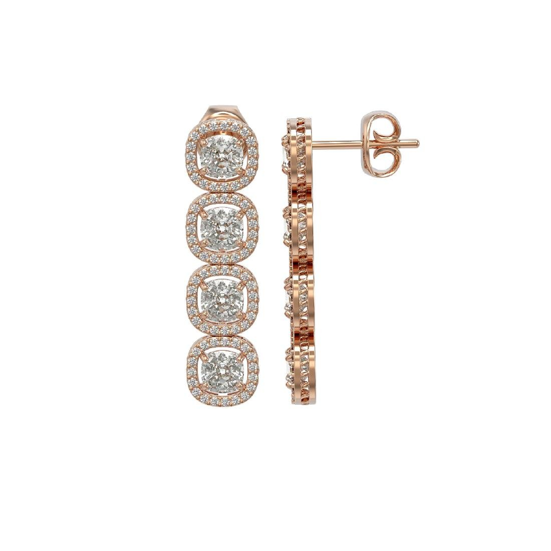 6.01 CTW Cushion Diamond Designer Earrings 18K Rose - 2