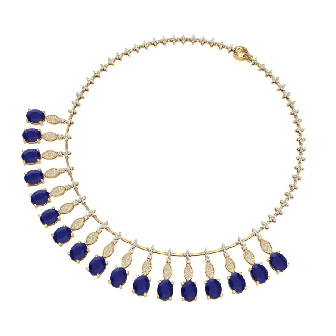 65.62 CTW Royalty Sapphire & VS Diamond Necklace 18K - 3