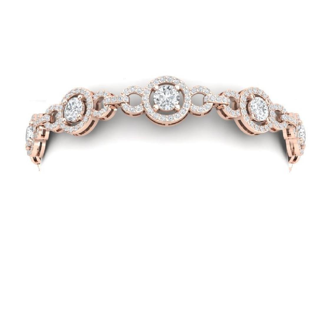 9 CTW Certified SI/I Diamond Halo Bracelet 18K Rose - 2