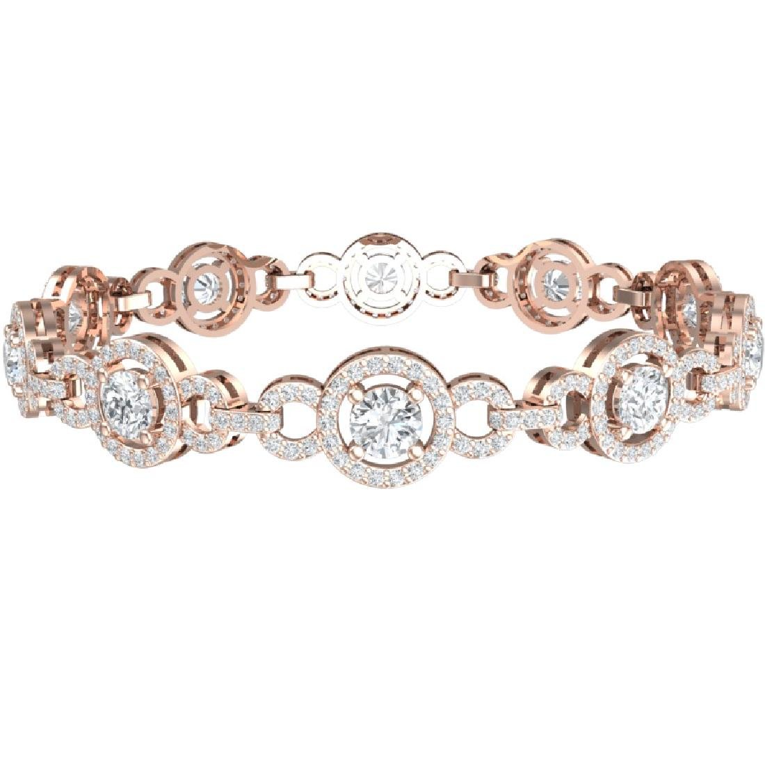 9 CTW Certified SI/I Diamond Halo Bracelet 18K Rose - 3