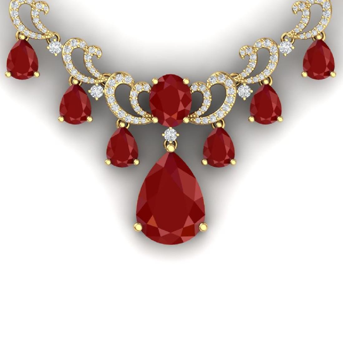 36.85 CTW Royalty Ruby & VS Diamond Necklace 18K Yellow