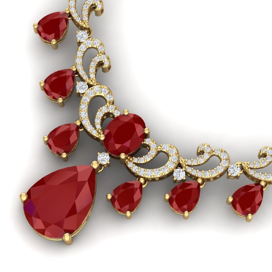 36.85 CTW Royalty Ruby & VS Diamond Necklace 18K Yellow - 2