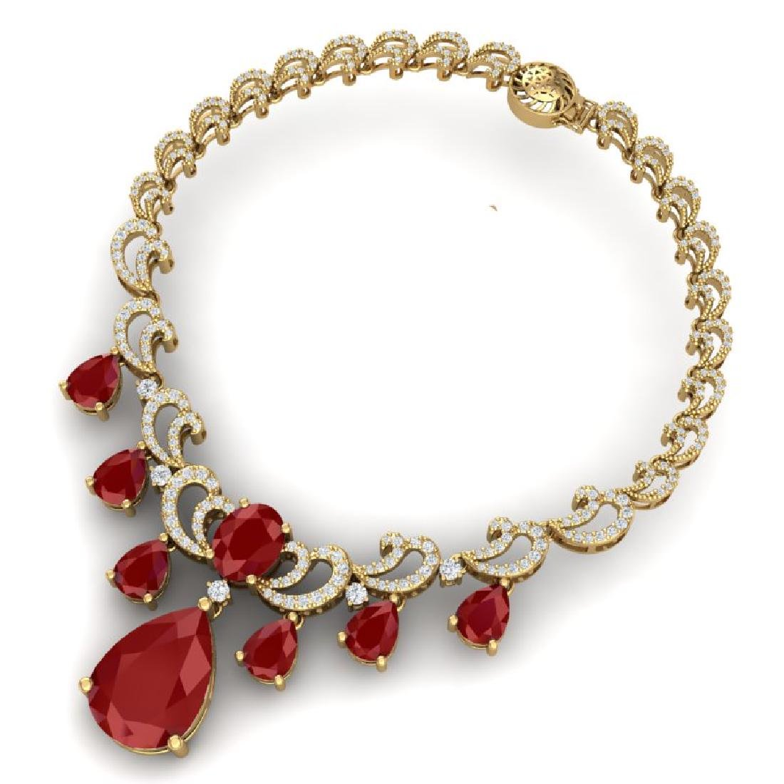 36.85 CTW Royalty Ruby & VS Diamond Necklace 18K Yellow - 3