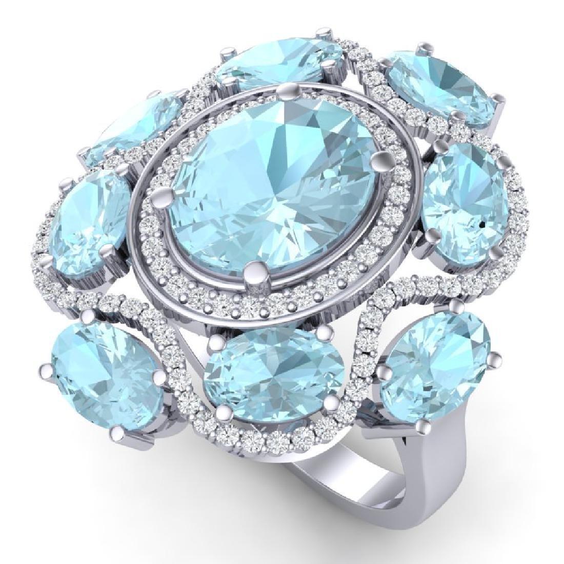 9.26 CTW Royalty Sky Topaz & VS Diamond Ring 18K White