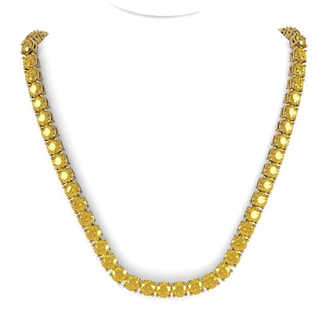 30 CTW Certified Fancy Yellow SI Diamond Necklace 14K - 3