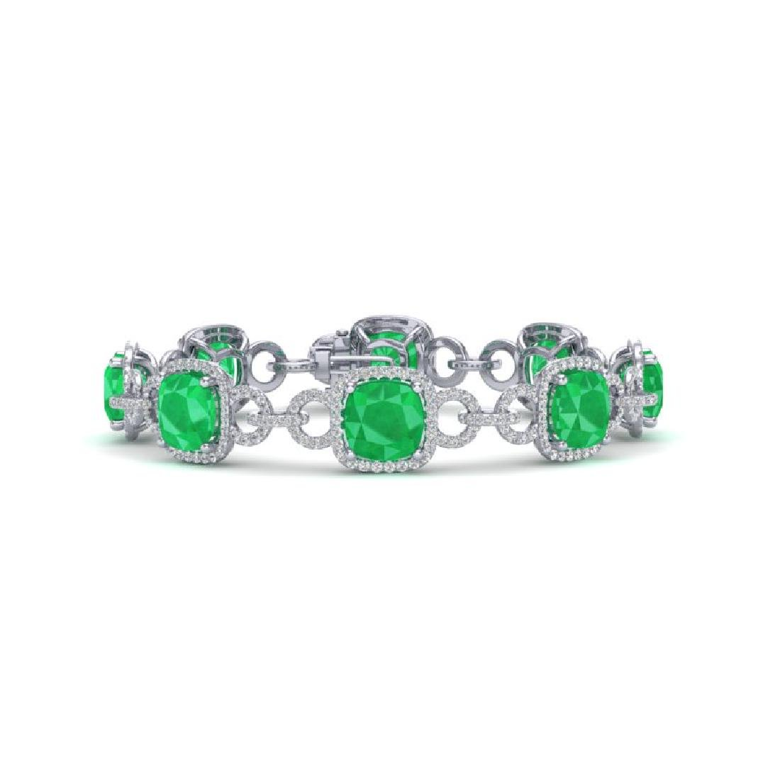 25 CTW Emerald & VS/SI Diamond Bracelet 14K White Gold