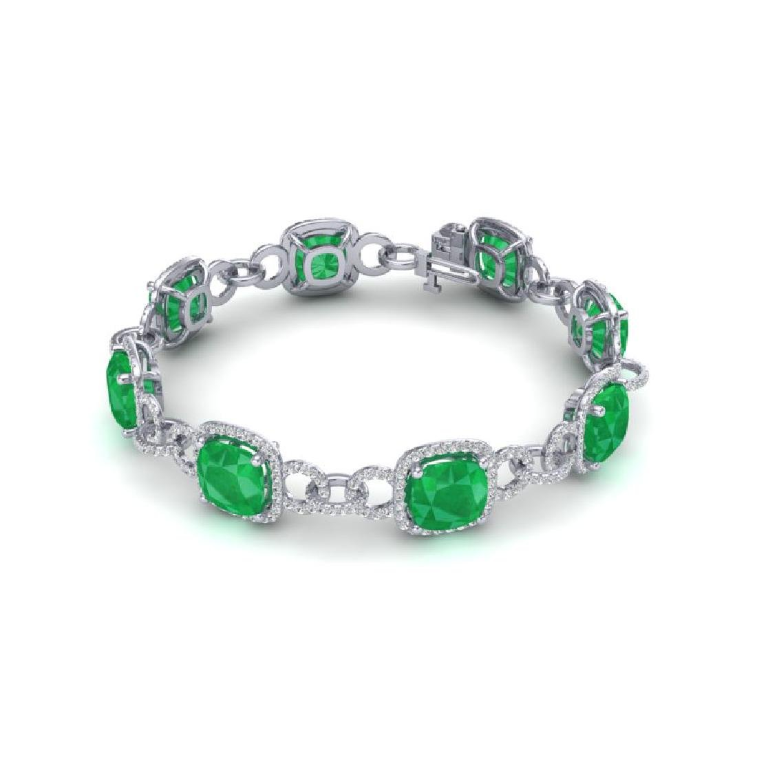 25 CTW Emerald & VS/SI Diamond Bracelet 14K White Gold - 2