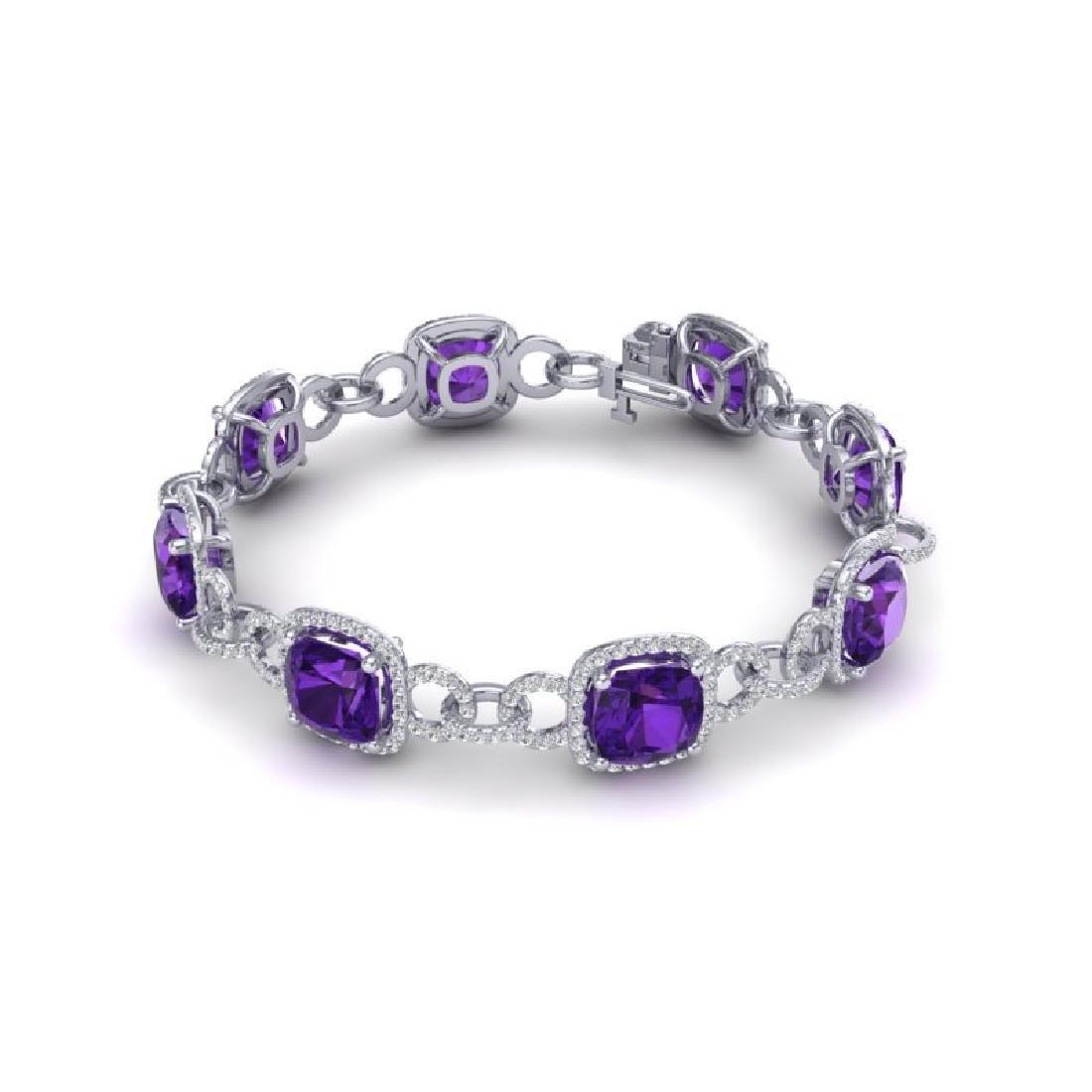 30 CTW Amethyst & VS/SI Diamond Bracelet 14K White Gold - 2