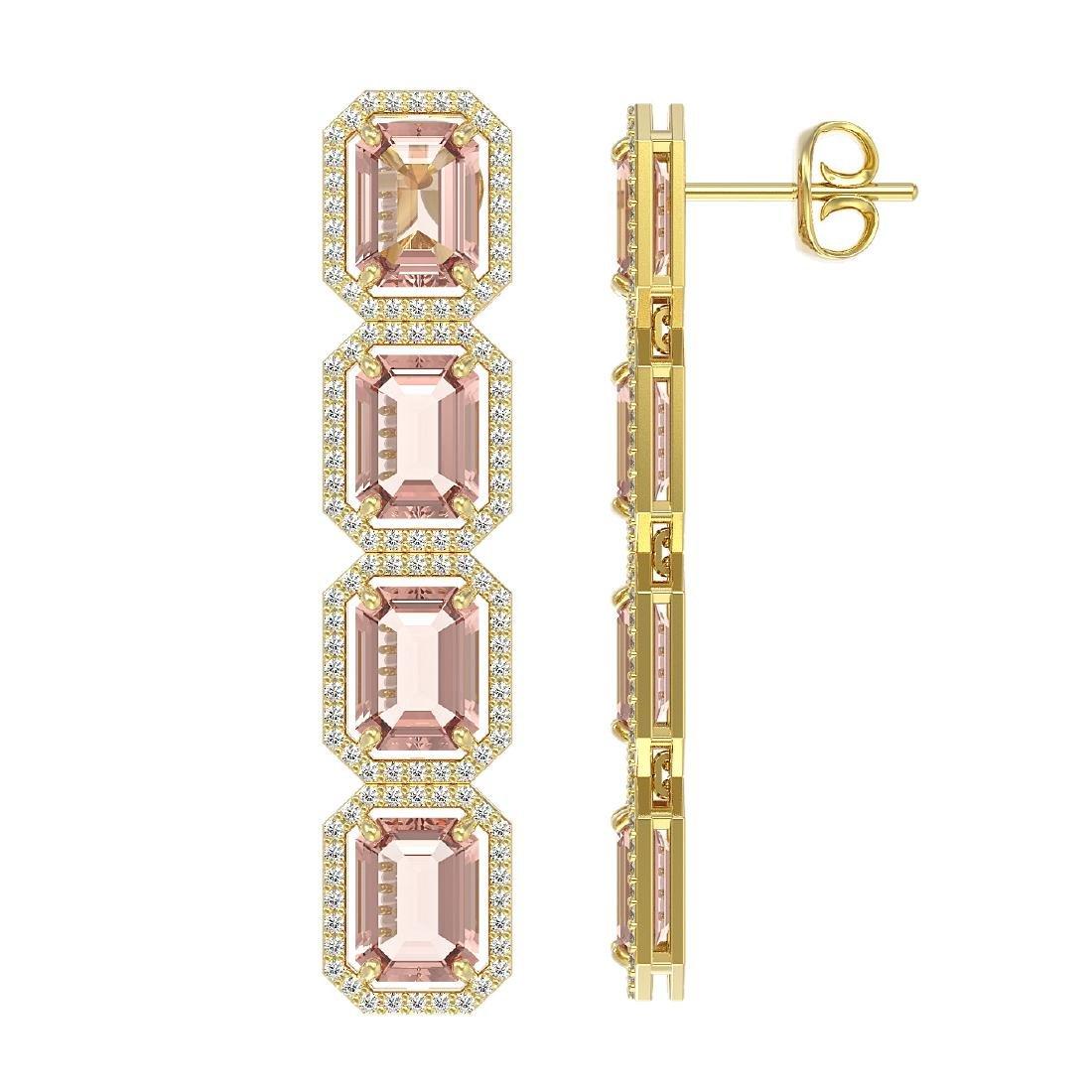 19.81 CTW Morganite & Diamond Halo Earrings 10K Yellow - 2