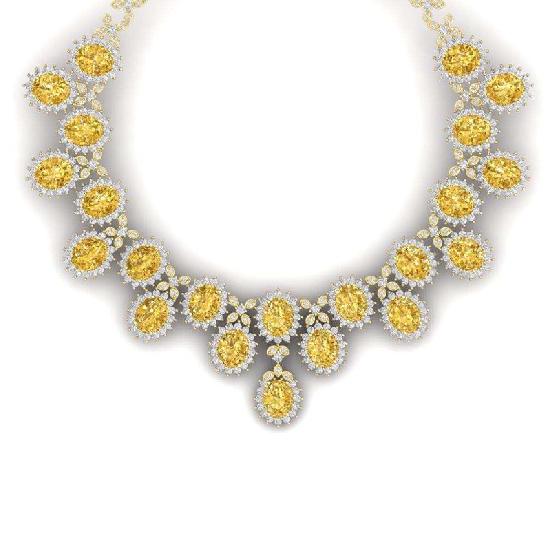 76 CTW Royalty Canary Citrine & VS Diamond Necklace 18K
