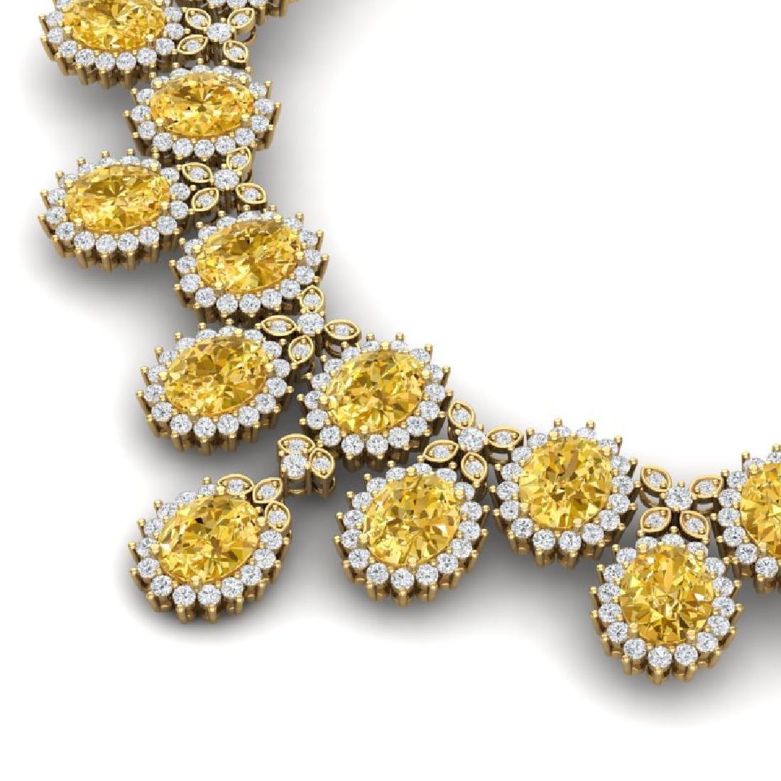 76 CTW Royalty Canary Citrine & VS Diamond Necklace 18K - 2