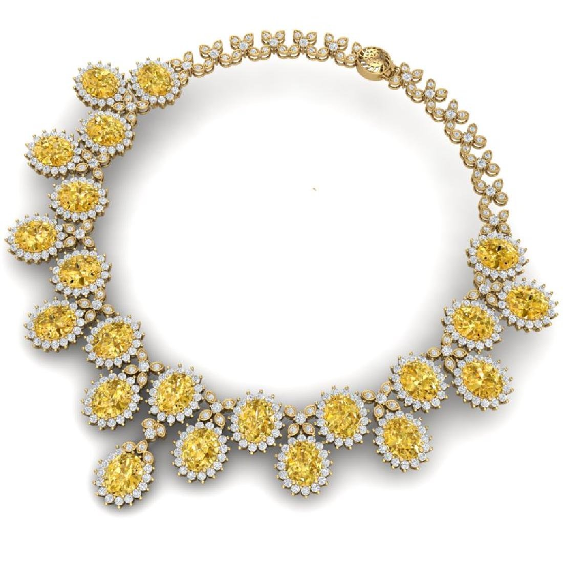 76 CTW Royalty Canary Citrine & VS Diamond Necklace 18K - 3