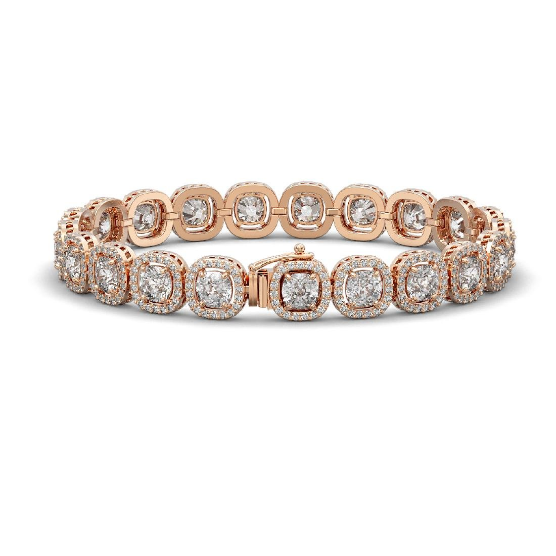 16.54 CTW Cushion Diamond Designer Bracelet 18K Rose - 2