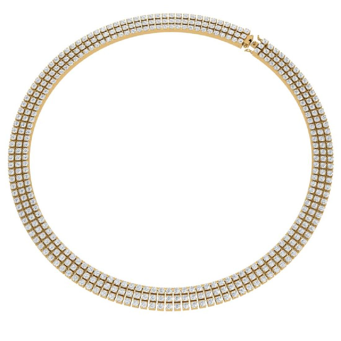 30 CTW Certified SI/I Diamond Necklace 18K Yellow Gold - 3