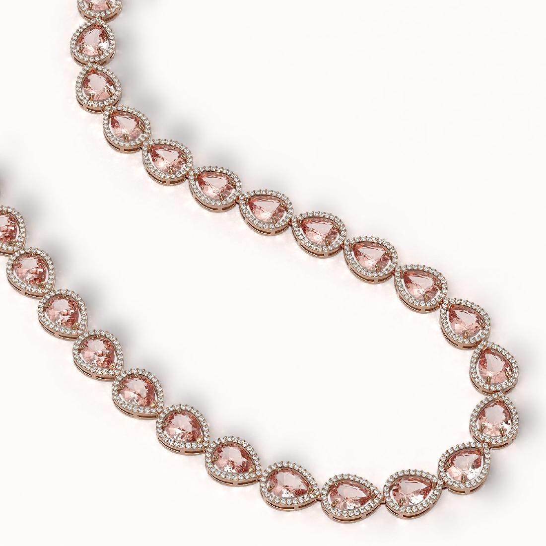 41.6 CTW Morganite & Diamond Halo Necklace 10K Rose - 2