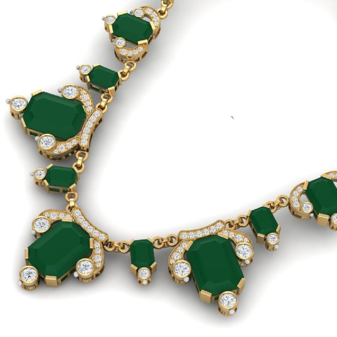 75.21 CTW Royalty Emerald & VS Diamond Necklace 18K - 2