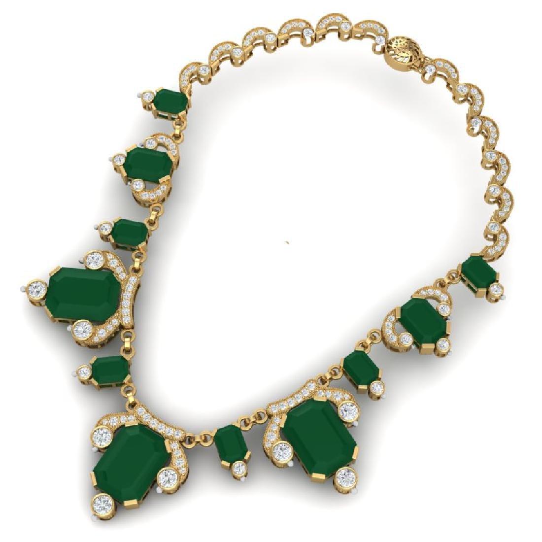 75.21 CTW Royalty Emerald & VS Diamond Necklace 18K - 3