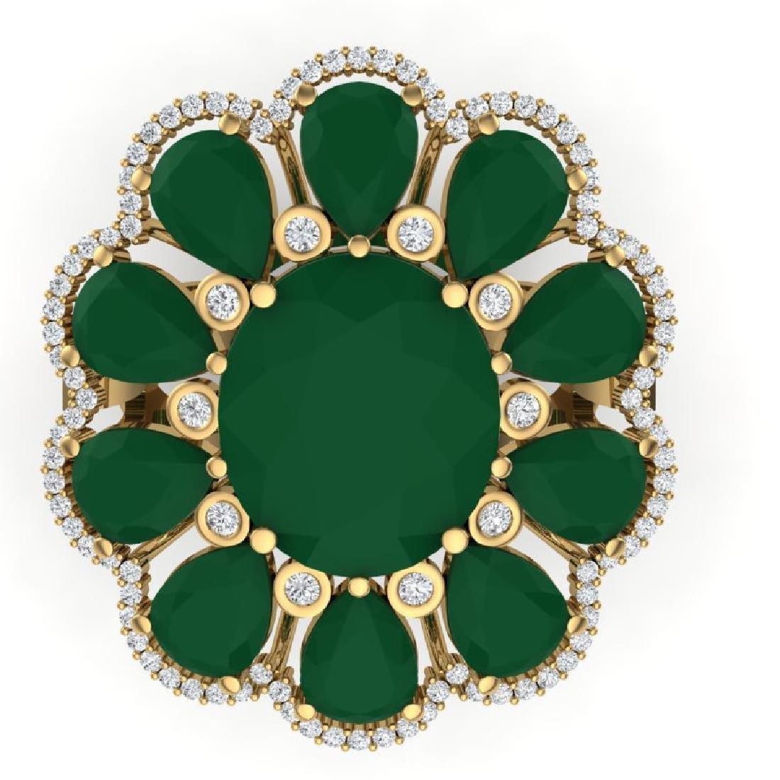 20.63 CTW Royalty Designer Emerald & VS Diamond Ring