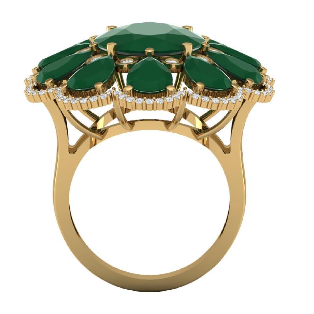 20.63 CTW Royalty Designer Emerald & VS Diamond Ring - 2