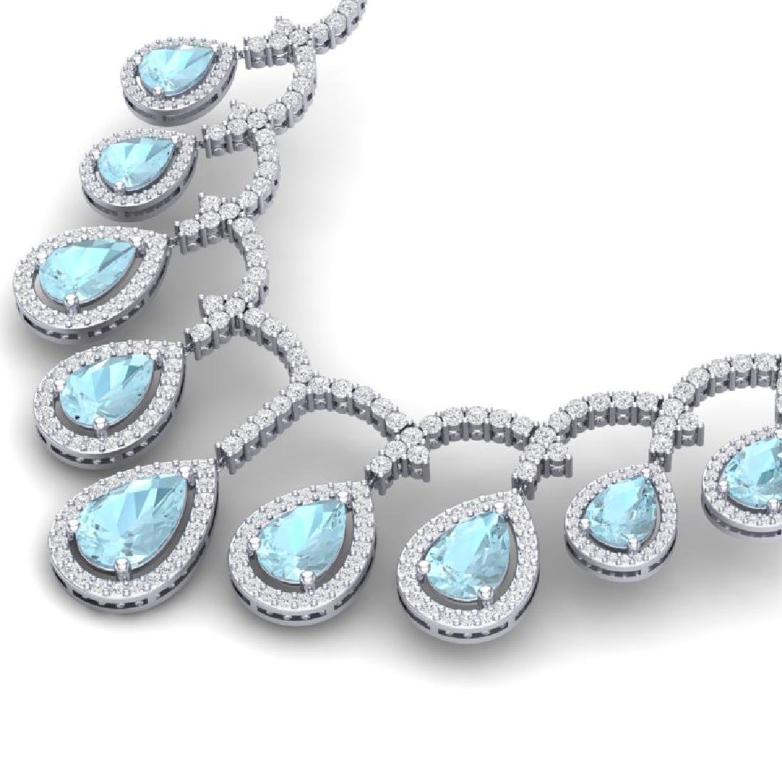32.62 CTW Royalty Sky Topaz & VS Diamond Necklace 18K - 2
