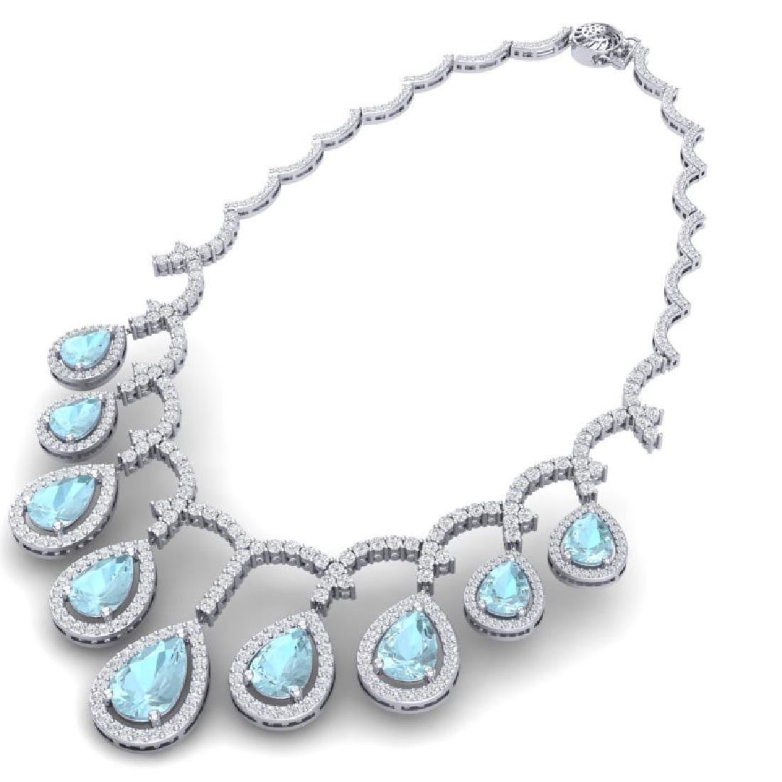 32.62 CTW Royalty Sky Topaz & VS Diamond Necklace 18K - 3