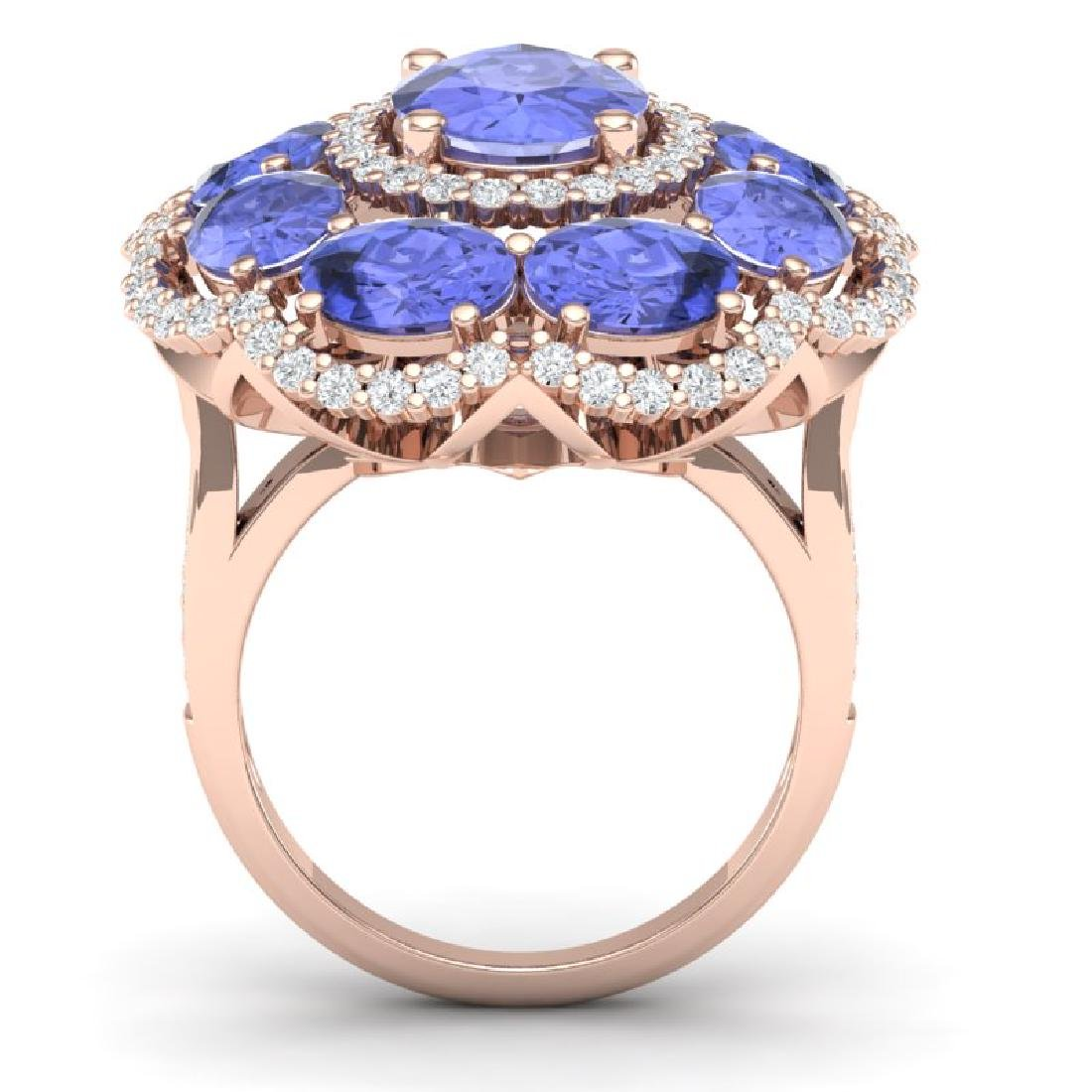15.24 CTW Royalty Tanzanite & VS Diamond Ring 18K Rose