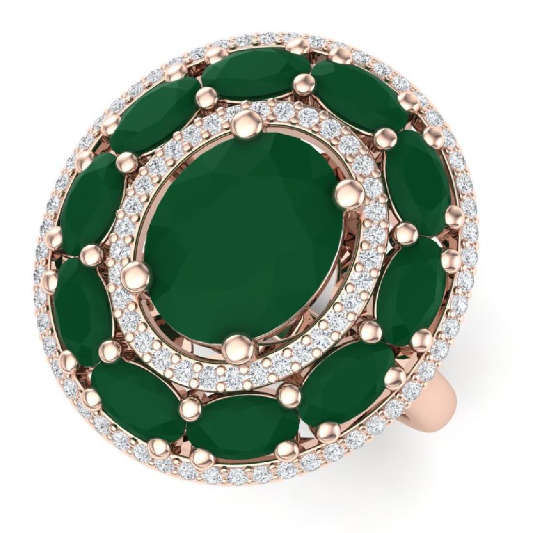 8.05 CTW Royalty Designer Emerald & VS Diamond Ring 18K