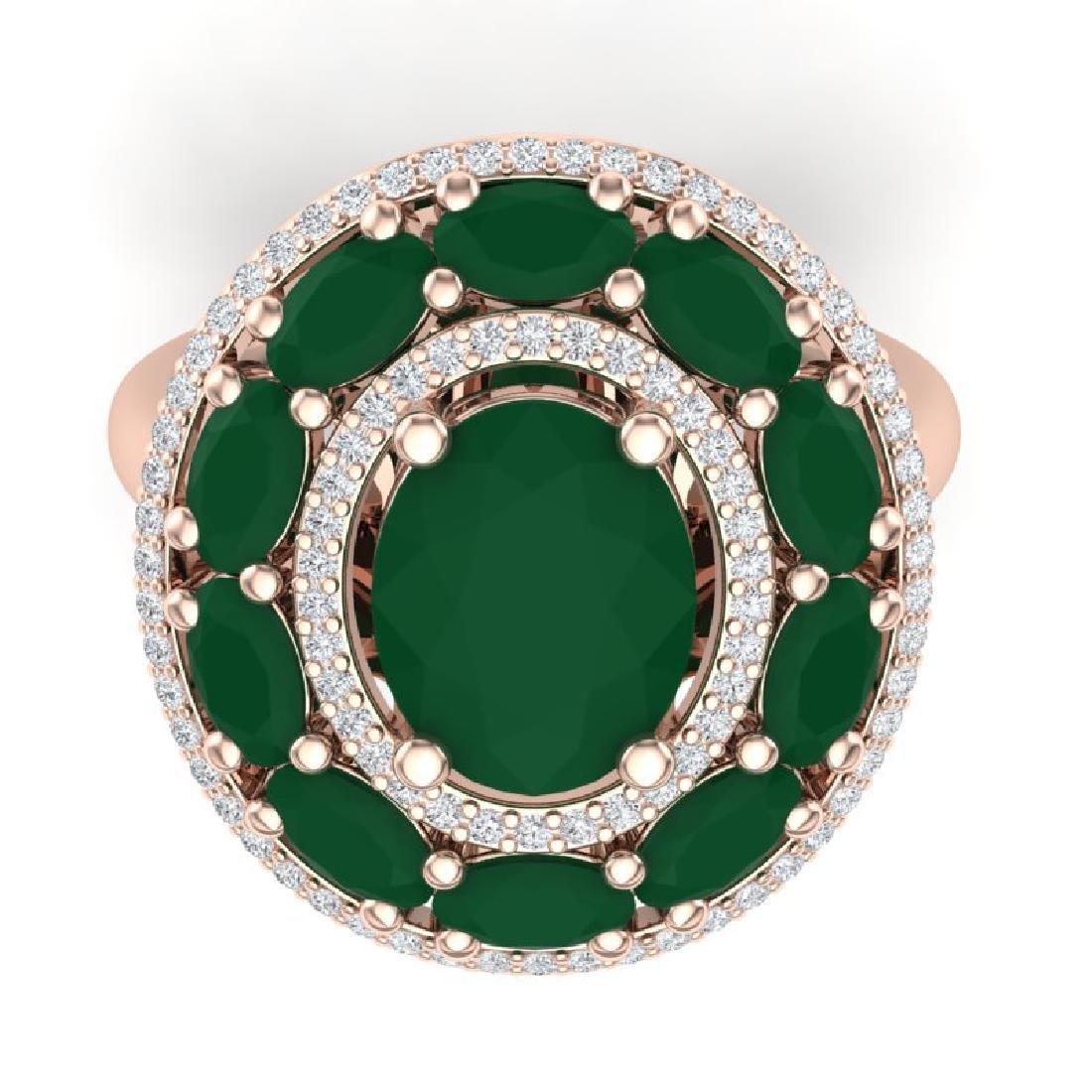 8.05 CTW Royalty Designer Emerald & VS Diamond Ring 18K - 2