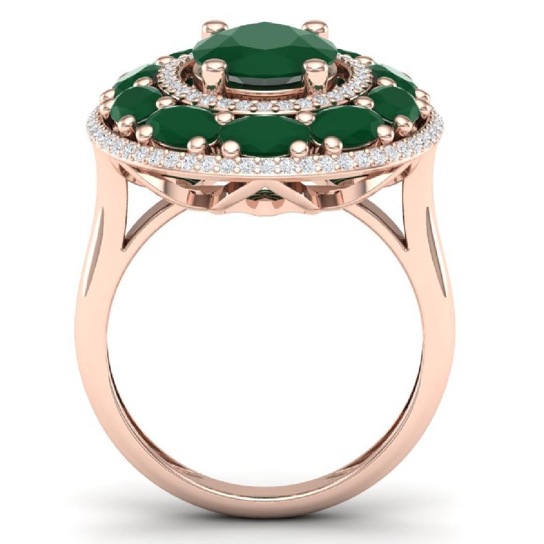 8.05 CTW Royalty Designer Emerald & VS Diamond Ring 18K - 3