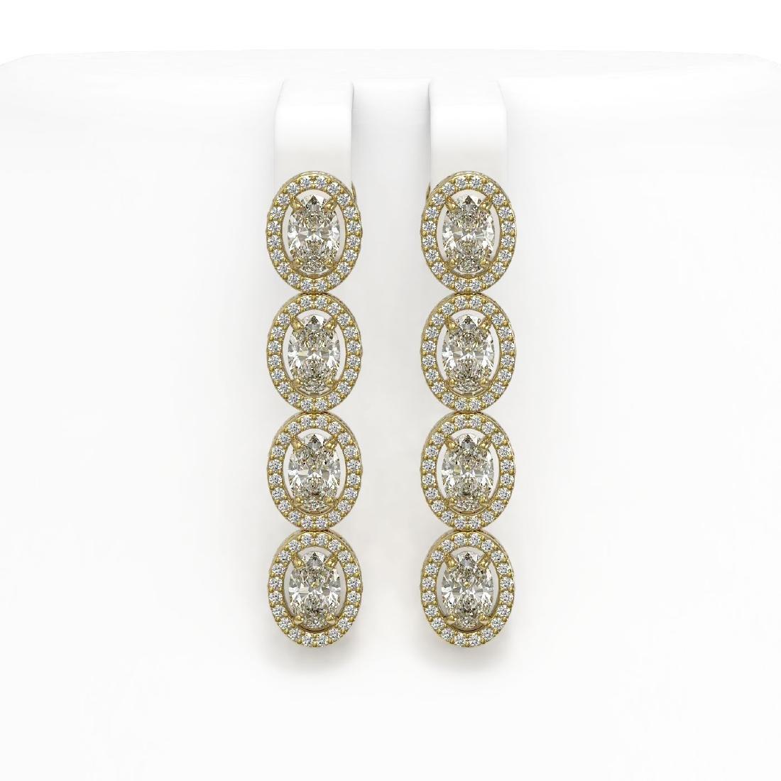 6.08 CTW Oval Diamond Designer Earrings 18K Yellow Gold