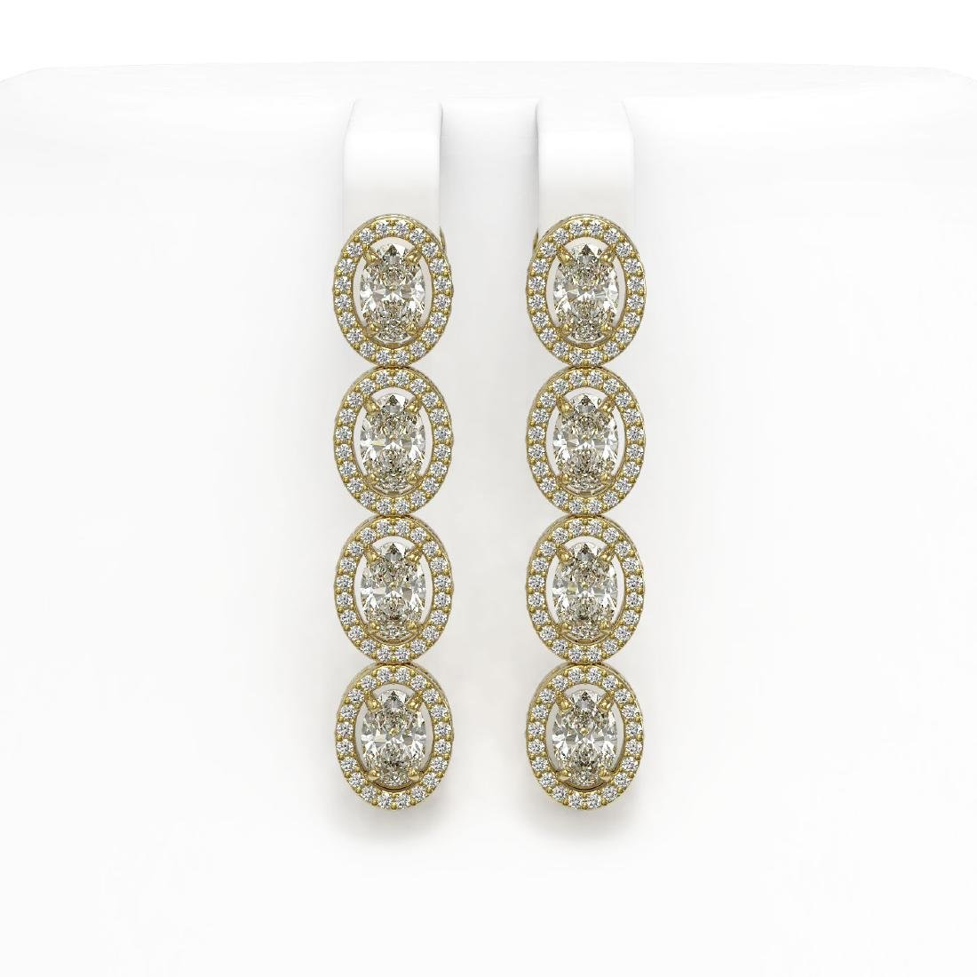 6.08 CTW Oval Diamond Designer Earrings 18K Yellow Gold