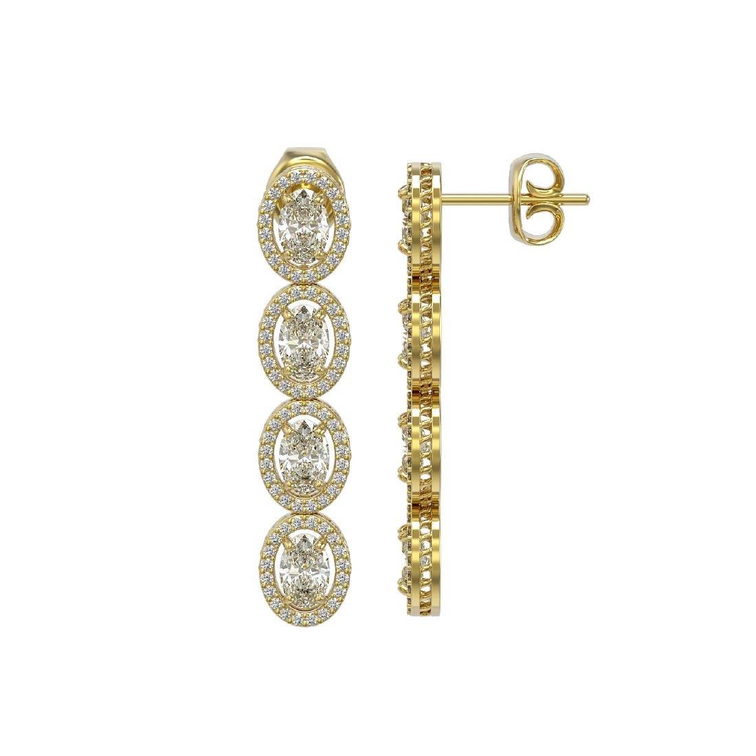 6.08 CTW Oval Diamond Designer Earrings 18K Yellow Gold - 2