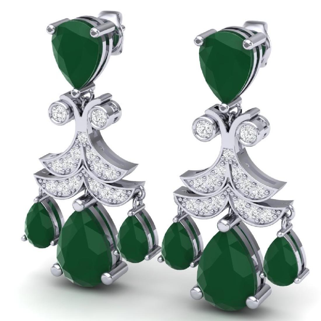 11.97 CTW Royalty Emerald & VS Diamond Earrings 18K - 2