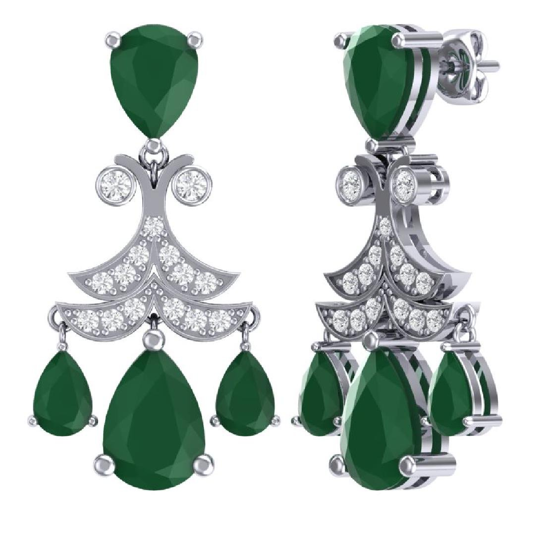 11.97 CTW Royalty Emerald & VS Diamond Earrings 18K - 3