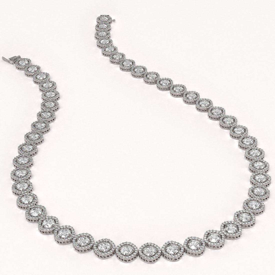 36.09 CTW Cushion Cut Diamond Designer Necklace 18K - 2