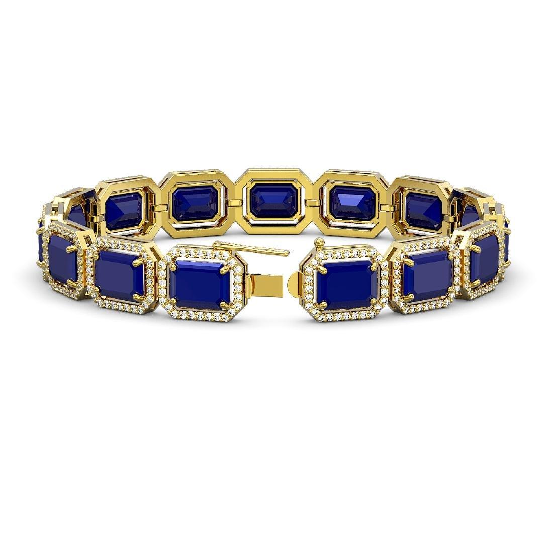 38.61 CTW Sapphire & Diamond Halo Bracelet 10K Yellow - 2